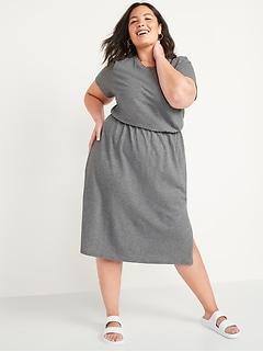 Waist-Defined Slub-Knit Plus-Size Midi Dress