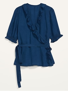 Ruffled Chambray Tie-Belt Wrap Top for Women