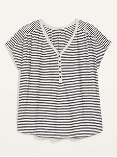 T-shirt henley ample à col enV en mélange de lin, taille forte