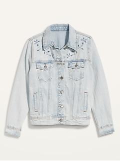 Veste en jean au fini pâle avec découpes brodées pour femme