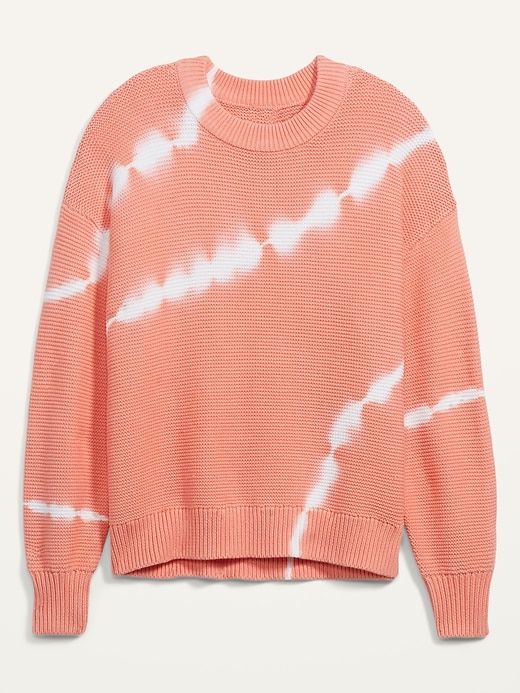 Tie-Dye Stripe Textured Crew-Neck Sweater for Women