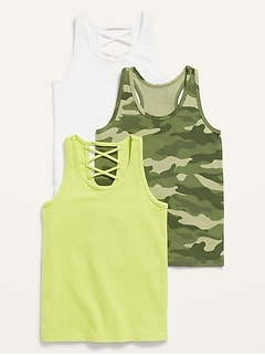 3-Pack Lattice-Back Tank Top for Girls