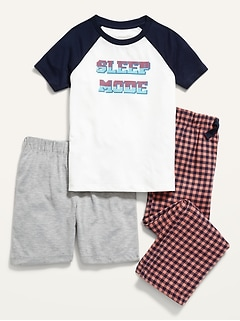 3-Piece Graphic Pajama Tee, Pants and Shorts Set for Boys