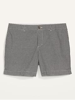 Short quotidien en tissu gaufré à damiers à taille haute, taille forte (entrejambe de 18cm)
