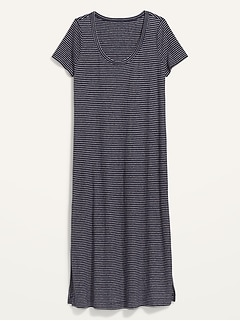 Striped Linen-Blend Plus-Size Maxi T-Shirt Shift Dress