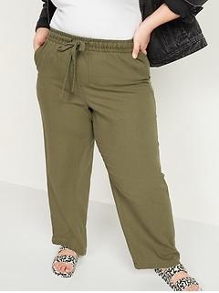 High-Waisted Wide-Leg Linen-Blend Plus-Size Pants