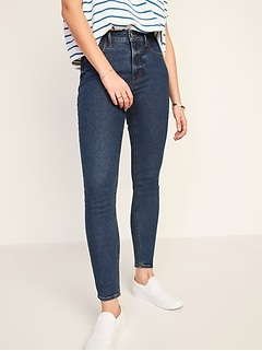 High-Waisted Rockstar Super Skinny Dark-Wash Jeans for Women