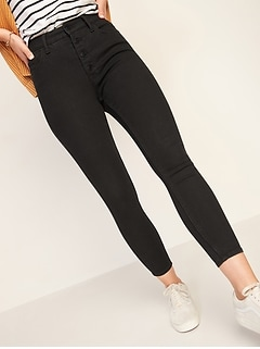 Extra High-Waisted Button-Fly Rockstar 360° Stretch Super Skinny Black Ankle Jeans for Women
