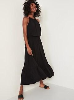 Robe longue sans manche à taille définie pour Femme