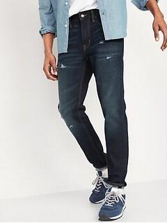Relaxed Slim Taper Built-In Flex Rip & Repair Jeans for Men
