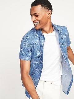 Built-In Flex Patterned Everyday Short-Sleeve Shirt for Men