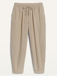 Pantalon court droit à taille haute en mélange de lin, taille forte