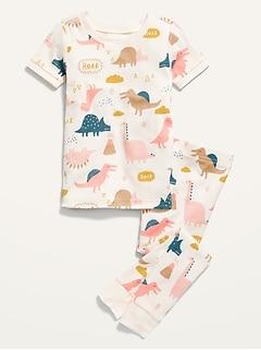 Unisex Dino-Print Pajama Set for Toddler & Baby