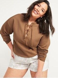 Lace-Up Crew-Neck Plus-Size Sweatshirt