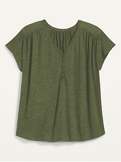 Loose V-Neck Linen-Blend Plus-Size Henley Tee