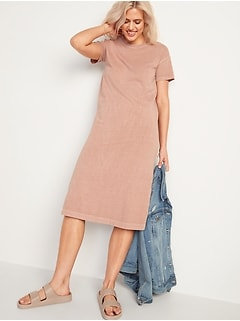 Vintage Garment-Dyed Midi T-Shirt Dress for Women