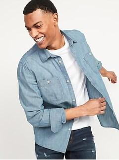 Regular-Fit Chambray Workwear Shirt for Men