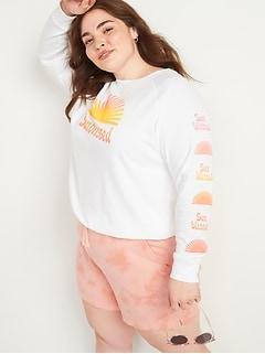Vintage Graphic Plus-Size Crew-Neck Sweatshirt