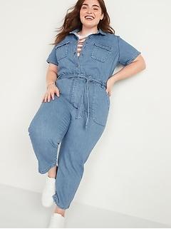 Tie-Belt No-Peek Plus-Size Short-Sleeve Jean Jumpsuit