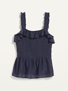 Ruffled Smocked-Bodice Sleeveless Top for Women