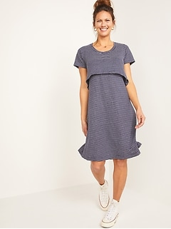 Maternity Double-Layer Linen-Blend Jersey Nursing Dress
