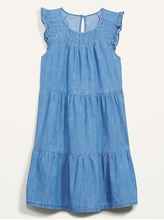 Tiered Chambray Flutter-Sleeve Swing Dress for Women