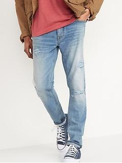 Skinny Built-In Flex Ripped Light-Wash Jeans for Men