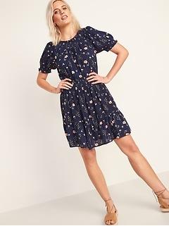 Smocked Waist-Defined Floral-Print Mini Dress for Women