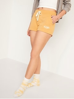 Logo-Graphic French Terry Shorts for Women -- 3-inch inseam