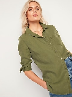 Pigment-Dyed Tencel® Long-Sleeve Shirt for Women