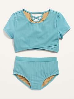 Wrap-Front Ribbed Tankini Set for Girls