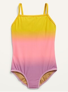 Square-Neck One-Piece Swimsuit for Girls