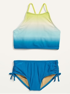 High-Neck Ruched Tankini Swim Set for Girls