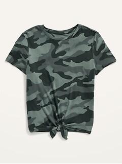 Luxe Short-Sleeve Printed Tie-Hem Tee for Girls