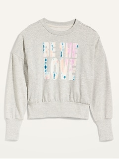 Loose Graphic Cropped Crew-Neck Sweatshirt for Women