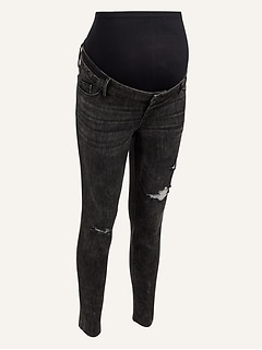 Maternity Premium Full Panel Rockstar Super Skinny Black Ripped Jeans