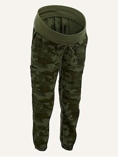 Maternity Rollover-Waist Linen-Blend Cargo Jogger Pants