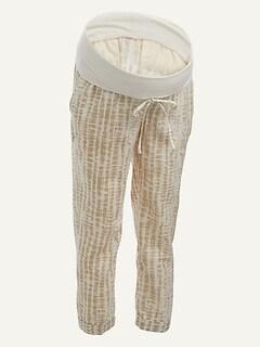Maternity Rollover-Waist Tie-Dye Linen-Blend Cropped Pants