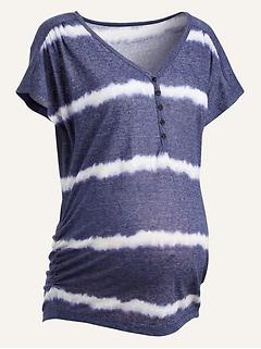 Maternity V-Neck Linen-Blend Side-Shirred Henley Tee
