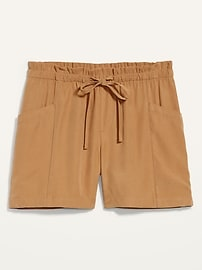 High-Waisted Soft-Twill Utility Shorts for Women -- 5-inch inseam