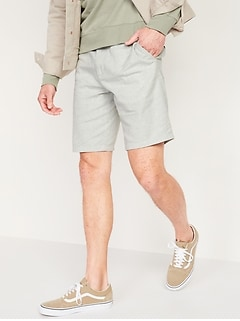 Slim Ultimate Micro-Stripe Linen-Blend Shorts for Men -- 10-inch inseam