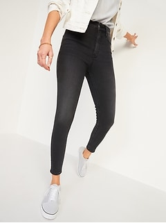 Extra High-Waisted Rockstar 360° Stretch Super Skinny Black Jeans for Women
