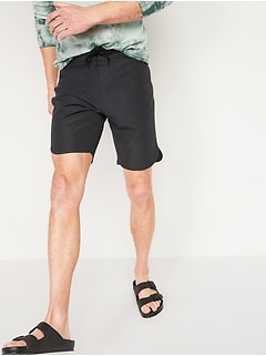 Solid-Color Dolphin-Hem Board Shorts for Men -- 10-inch inseam