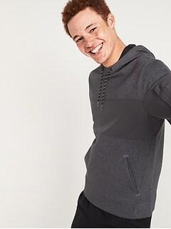 Dynamic Fleece Woven-Hybrid Pullover Hoodie for Men
