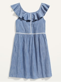 Rufled Chambray Ladder-Lace Dress for Girls