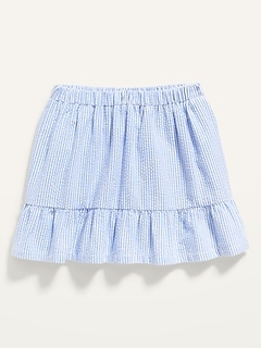 Striped Seersucker Tiered-Hem Skirt for Toddler Girls