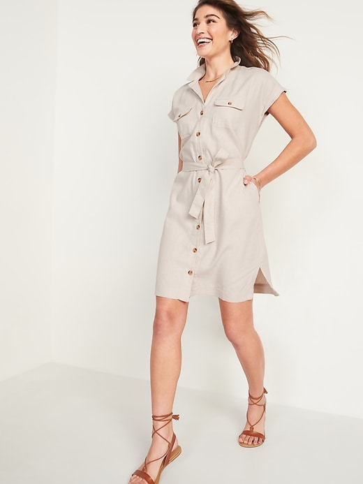 Waist-Defined Linen-Blend Tie-Belt Shirt Dress for Women