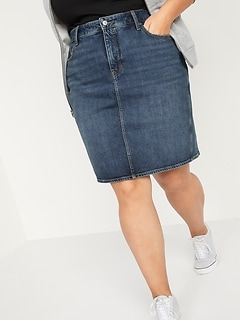 Extra High-Waisted Secret-Slim Pockets Plus-Size Jean Skirt