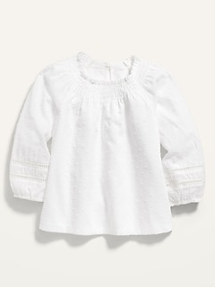 Smocked-Neck Swiss-Dot Top for Toddler Girls