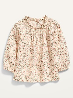 Smocked-Neck Floral-Print Top for Toddler Girls